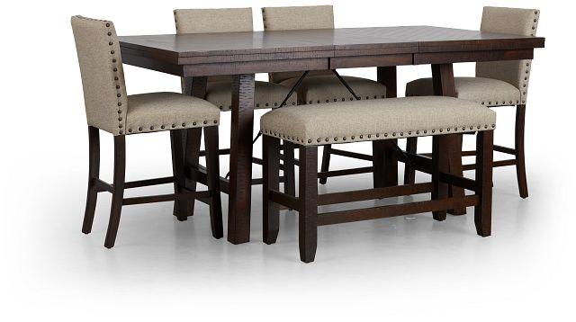 Jax Beige High Table, 4 Barstools & High Bench (3)