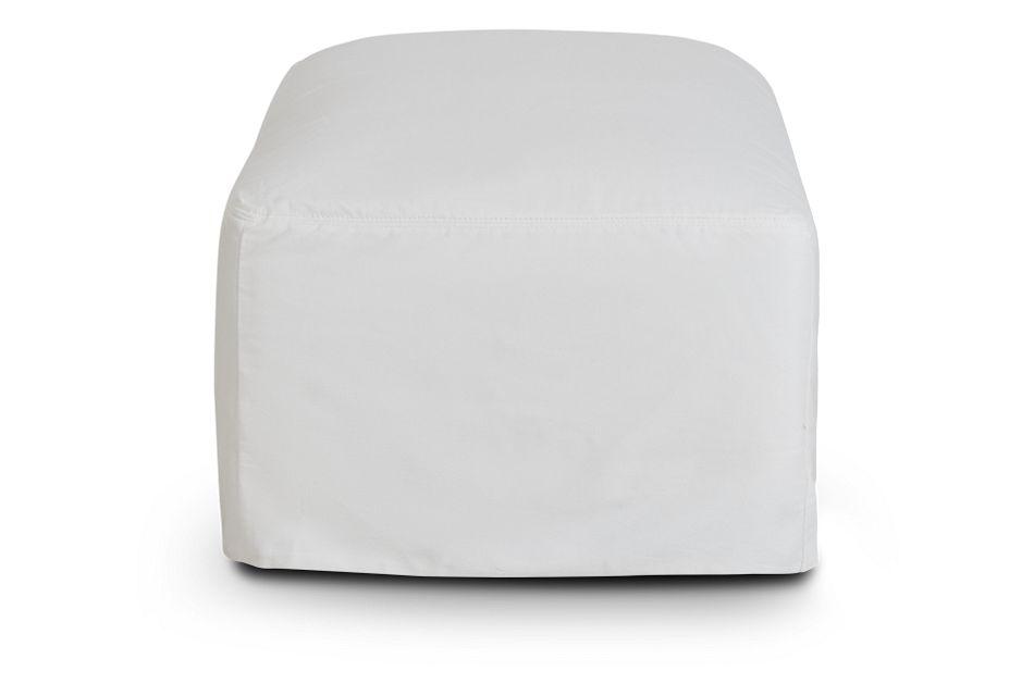 Delilah White Fabric Ottoman,  (2)