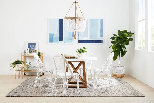 Greenwich Two-tone Round Table & 4 White Rattan Chairs (1)