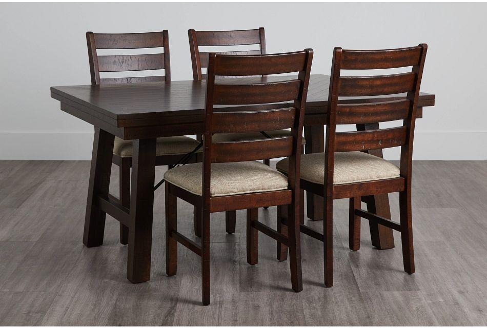 Jax Dark Tone Rect Table & 4 Wood Chairs,  (0)