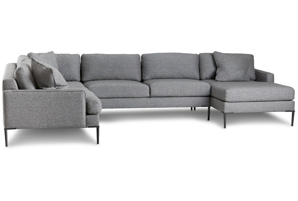 Morgan Dark Gray Fabric Medium Right Chaise Sectional W/ Metal Legs