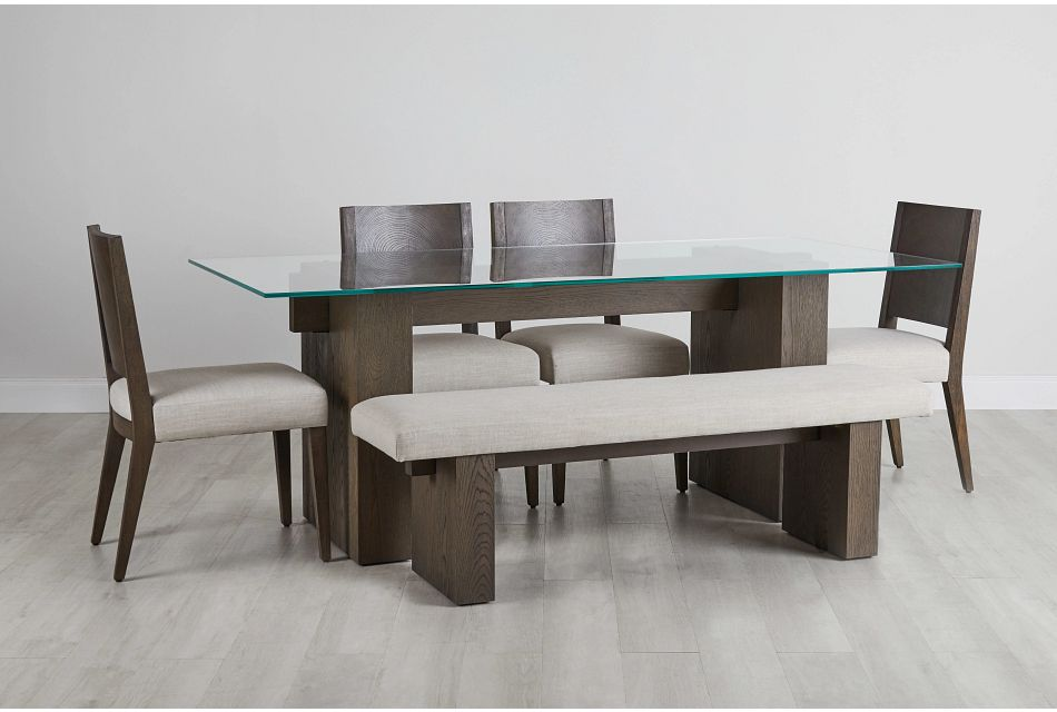 Oakland Dark Tone Glass Table, 4 Chairs & Bench,  (0)