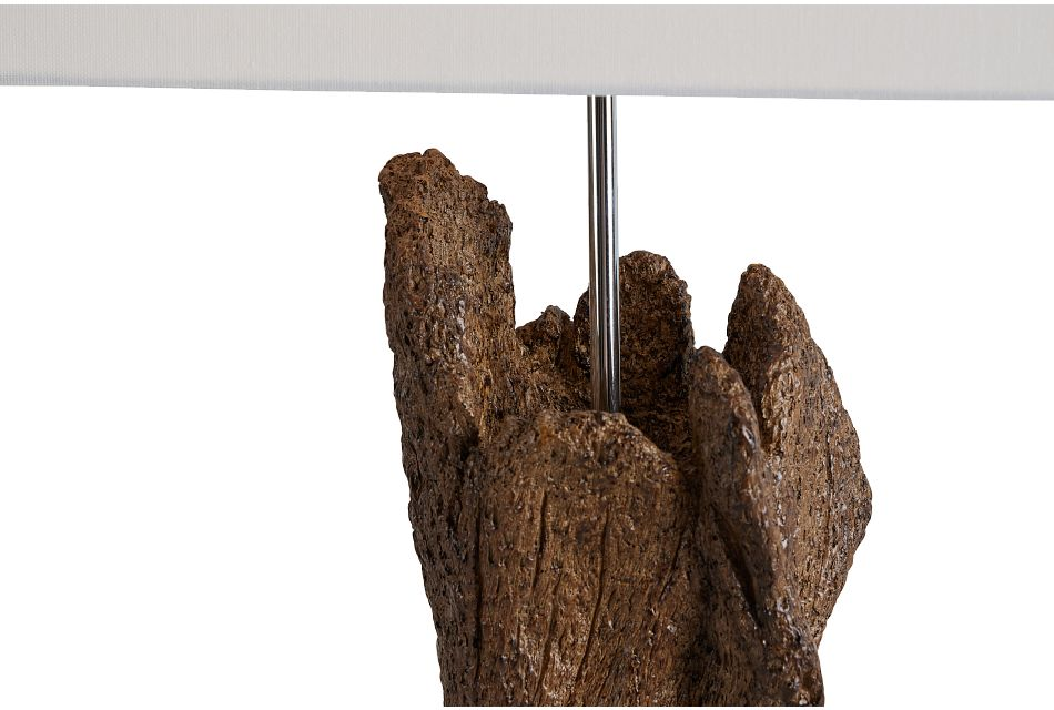 Iris Wood Polyresin Table Lamp,  (3)