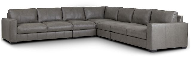 Dawkins Gray Leather Large Two-arm Sectional (0)