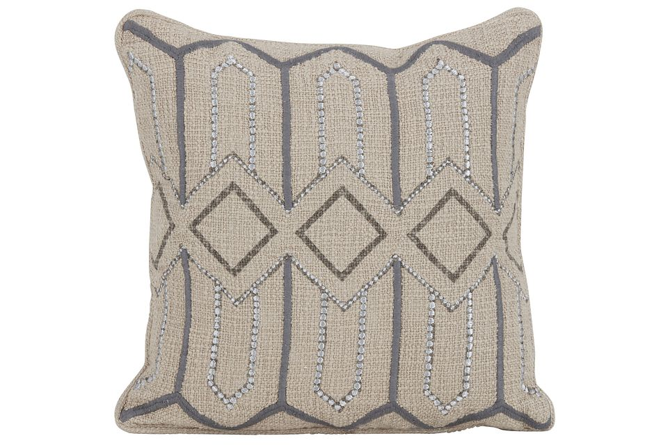 Etta Gray Square Accent Pillow