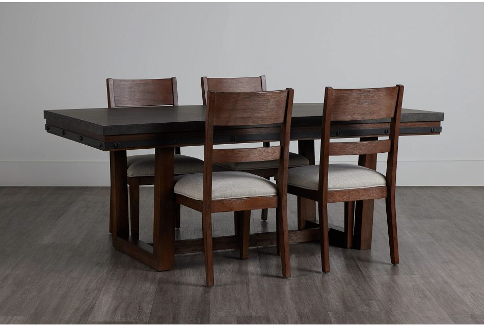 Forge Dark Tone Rectangular Table & 4 Wood Chairs,  (0)
