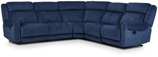 Beckett Dark Blue Micro Small Two-arm Manually Reclining Sectional (1)