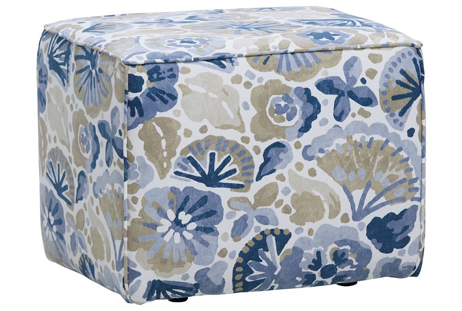 Waterflower Blue Accent Pouf