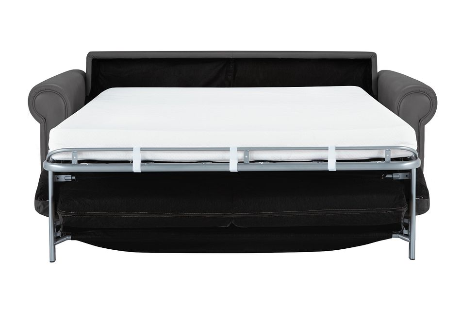 Lincoln Dark Gray Lthr/vinyl Memory Foam Sleeper