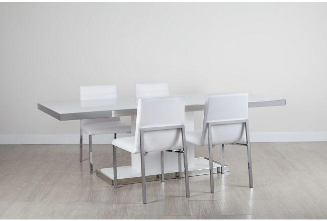 """Miami White 94"""" Table & 4 Chairs"""