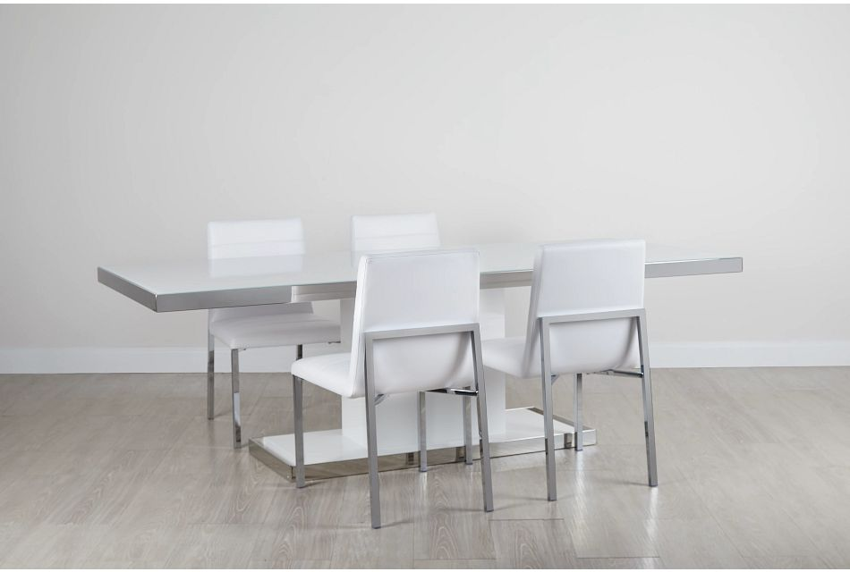 "Miami White 94"" Table & 4 Chairs"