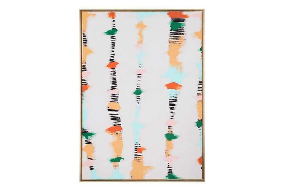 Line Dots White Canvas Wall Art