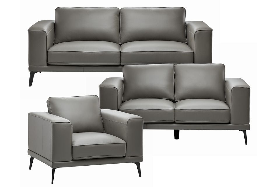 Naples Gray Leather Living Room With Black Legs