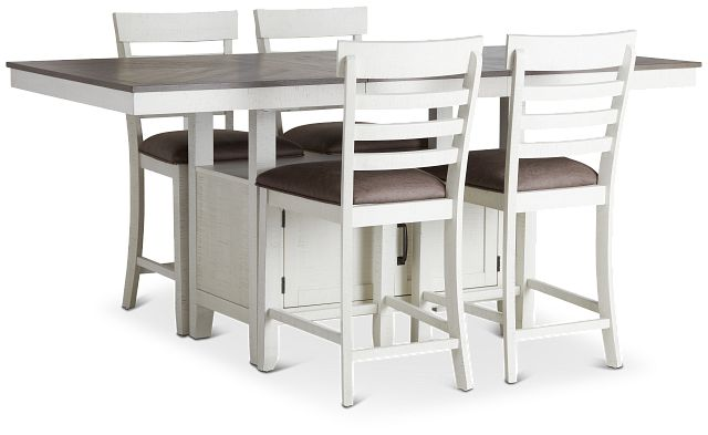 Huntsville Two-tone Rect High Table & 4 Barstools (1)