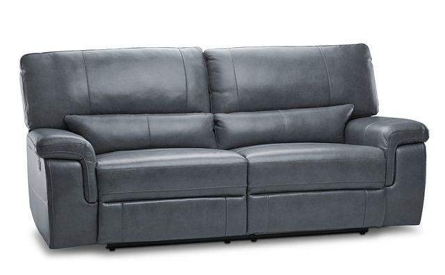 Weston Light Gray Lthr/vinyl Reclining Sofa (2)