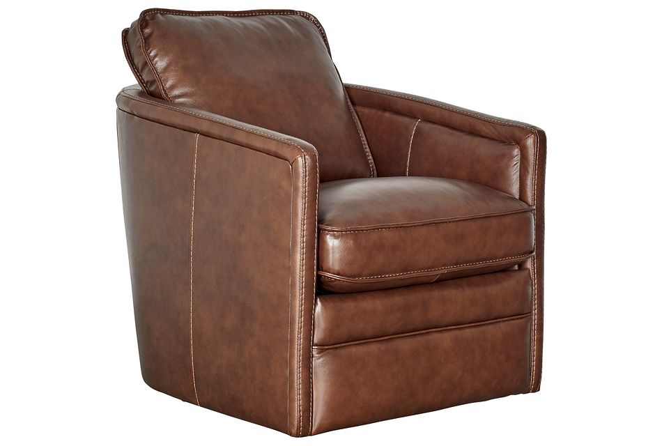 Alexander Medium Brown Leather Swivel Chair