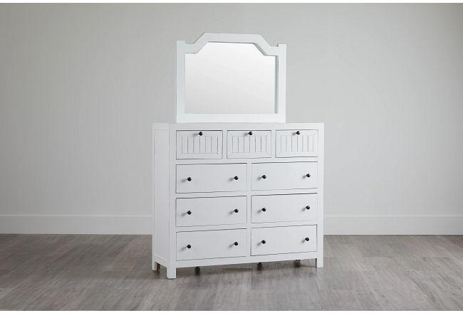Elmhurst White Dresser & Mirror