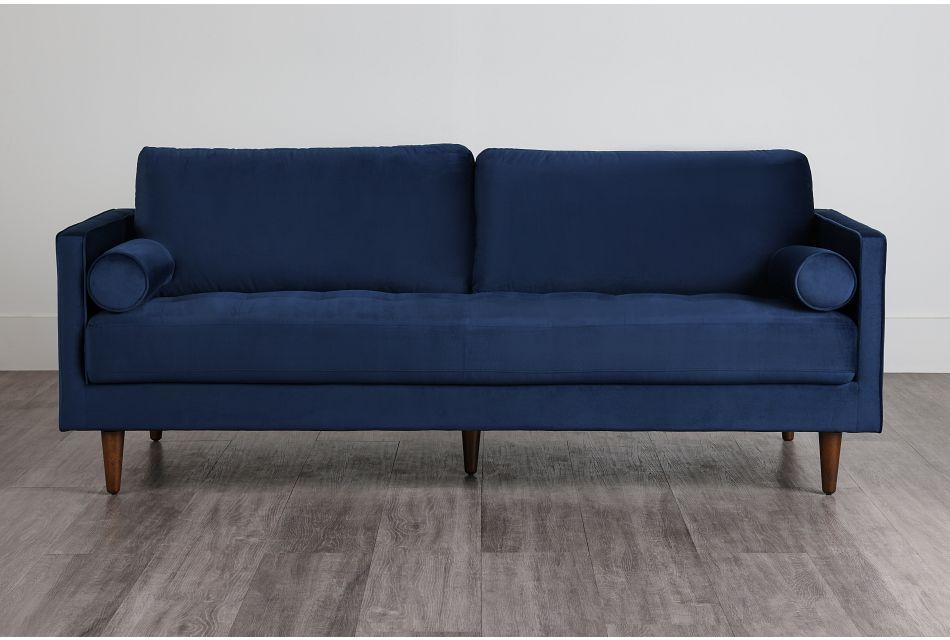 Luna Dark Blue Velvet Sofa,  (0)