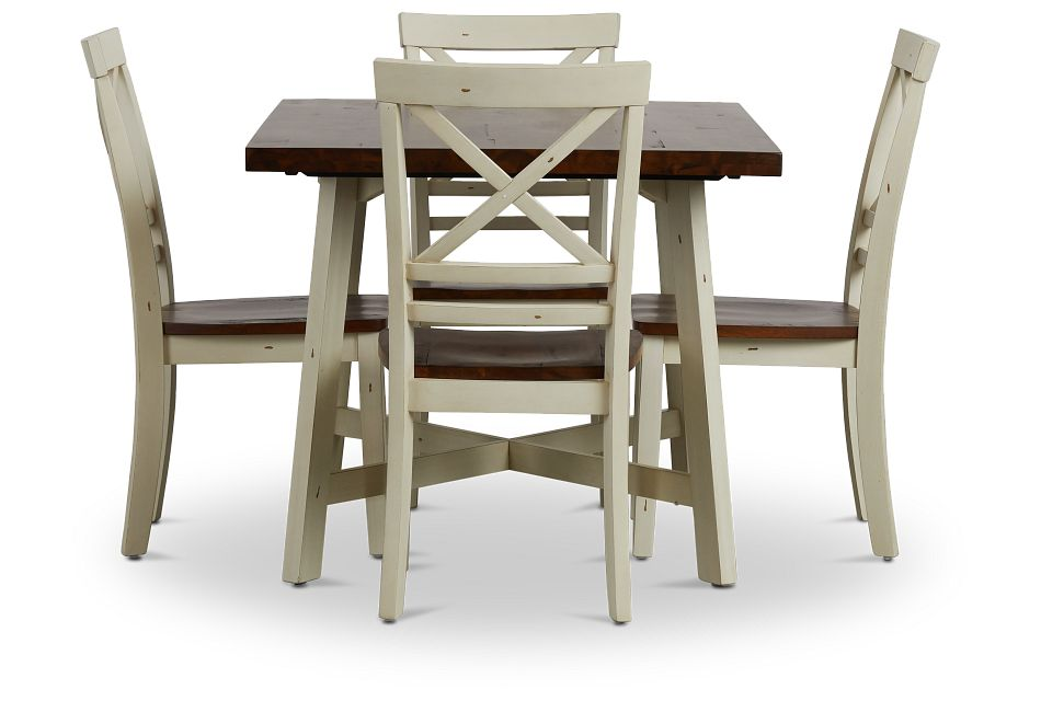 Amelia Two-tone Rect Table & 4 Chairs