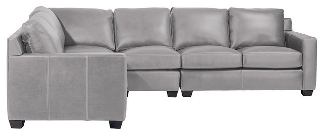 Carson Gray Leather Medium Two-arm Sectional (1)