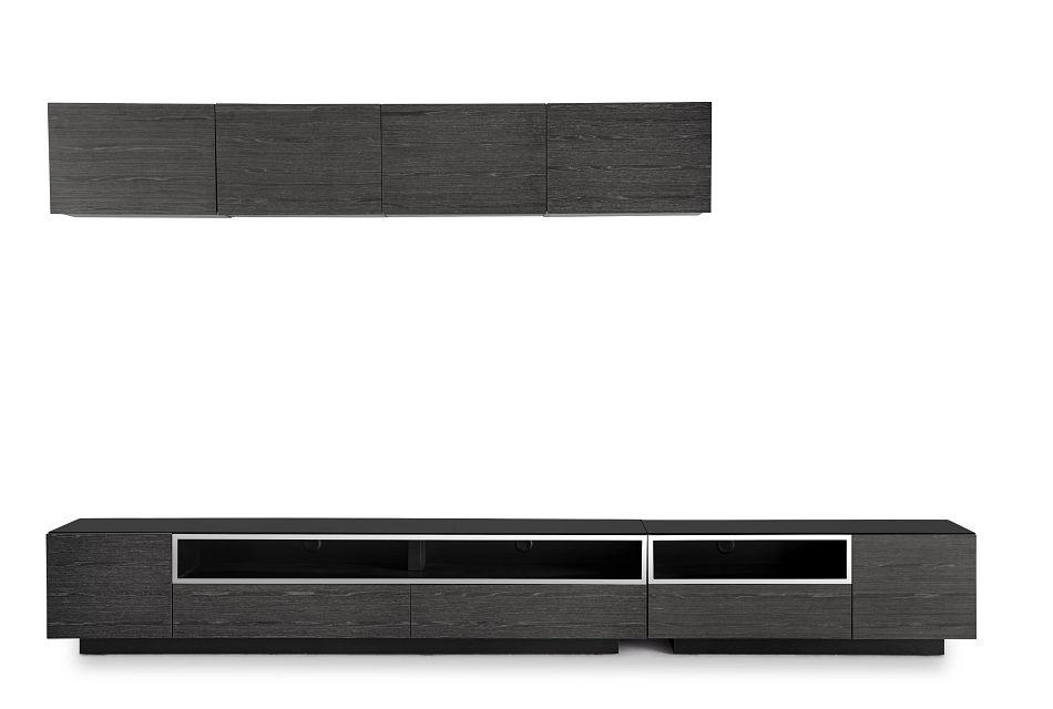 "Vancouver Dark Gray 134"" 6-piece Left Modular Entertainment Wall"