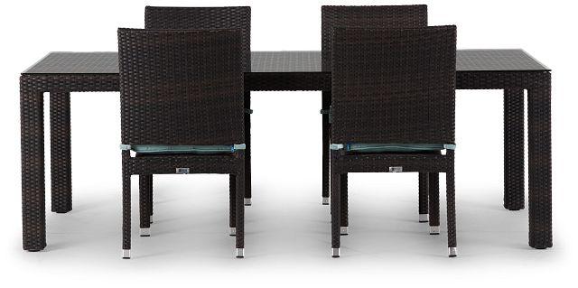 "Zen Teal 84"" Rectangular Table & 4 Chairs (2)"