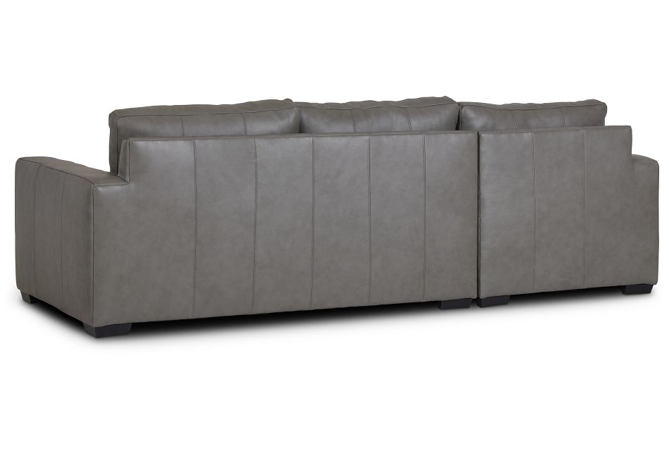 Dawkins Gray Leather Left Chaise Sectional,  (3)