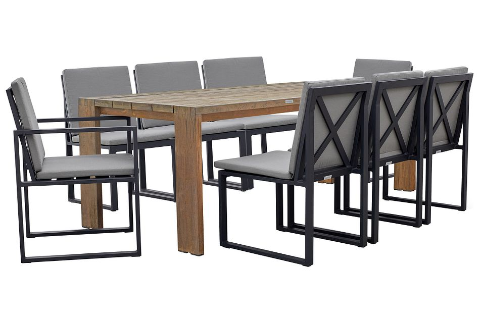 """Linear Dark Gray 82"""" Teak Table & 4 Cushioned Side Chairs"""