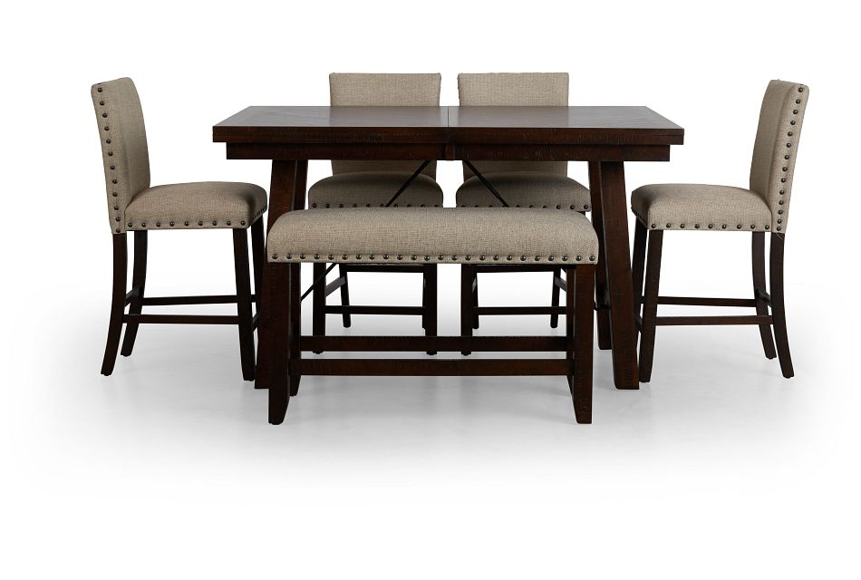 Jax Beige High Table, 4 Barstools & High Bench
