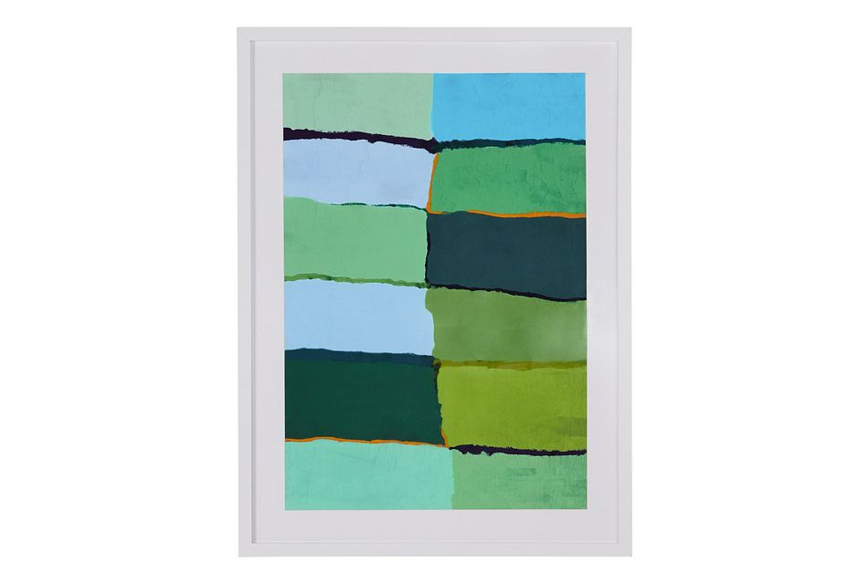 Squares Green Canvas Wall Art