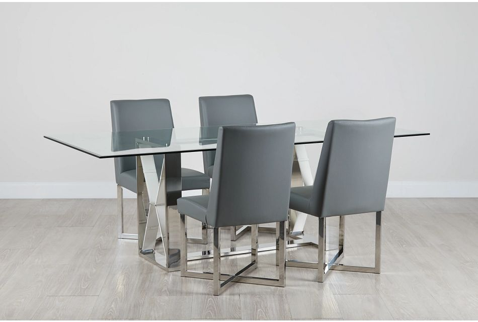 Mavis Glass Gray Table & 4 Upholstered Chairs