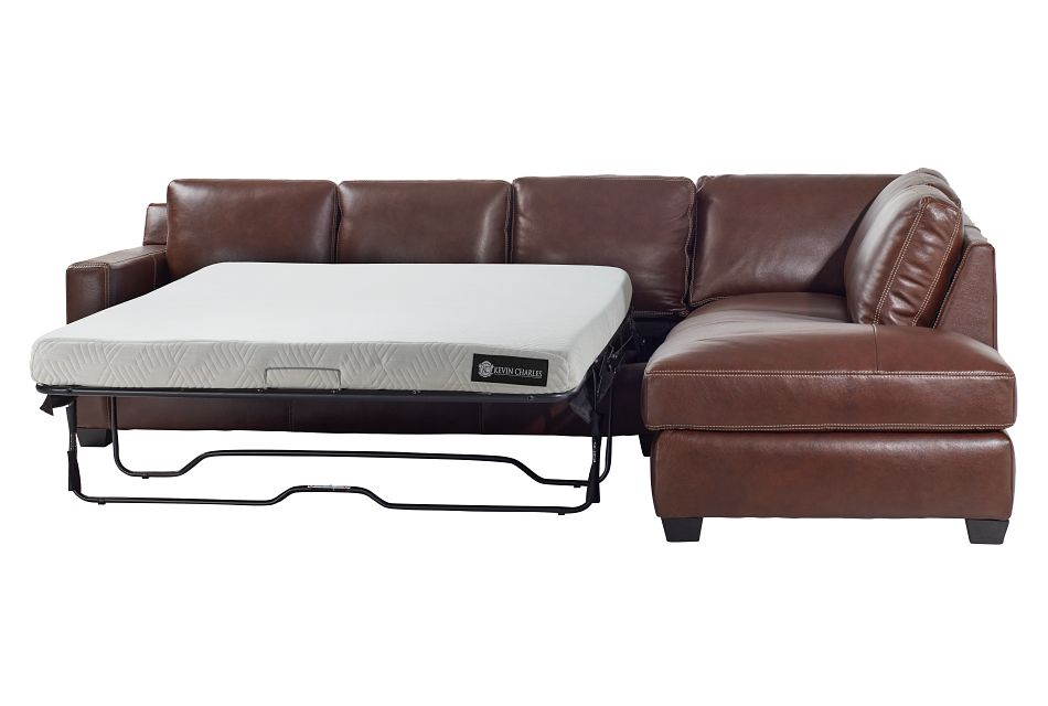 Carson Medium Brown Leather Right Bumper Memory Foam Sleeper Sectional