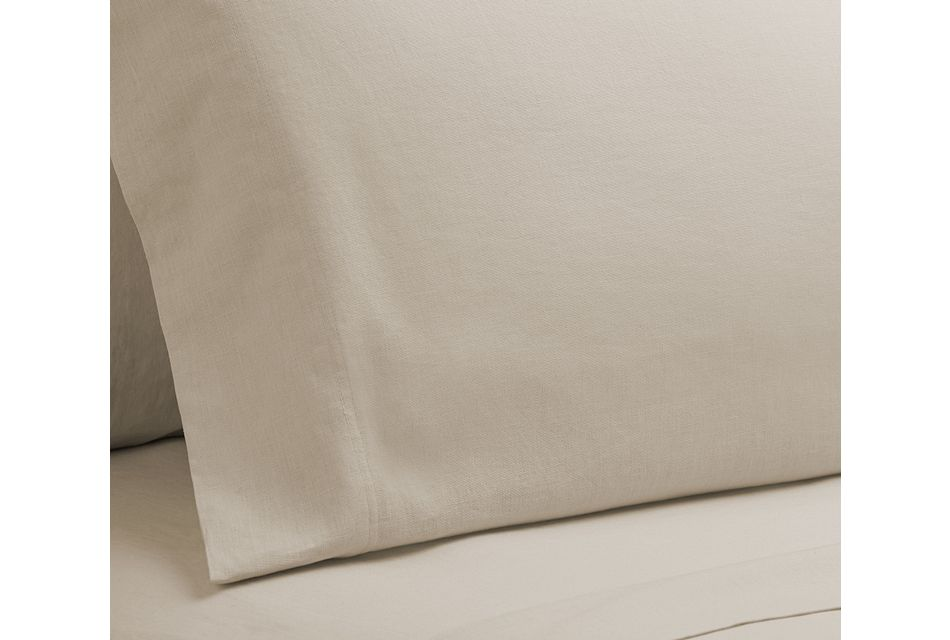 Linen Blend Ivory Set Of 2 Pillowcases