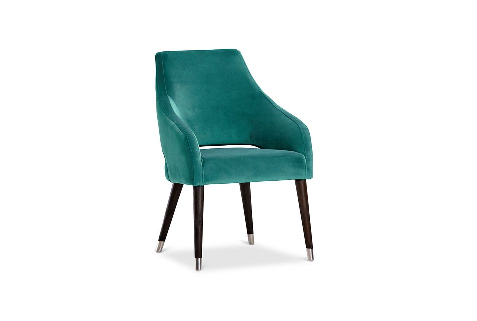 Naveen Teal Velvet Upholstered Arm Chair