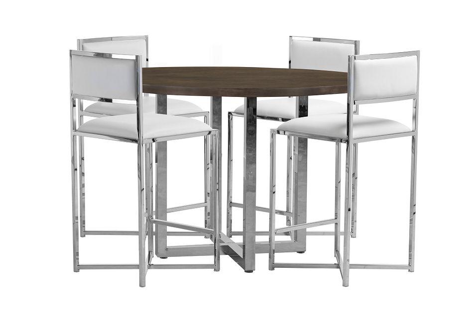Amalfi White Wood High Table & 4 Metal Barstools