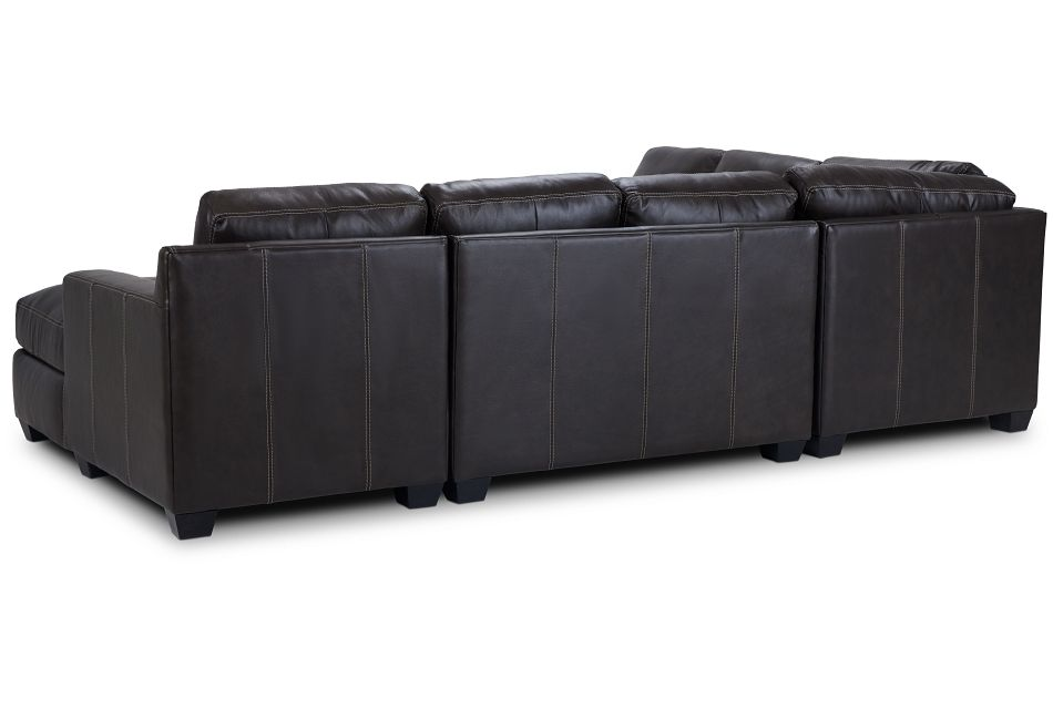 Carson Dark Brown Leather Medium Right Chaise Sectional