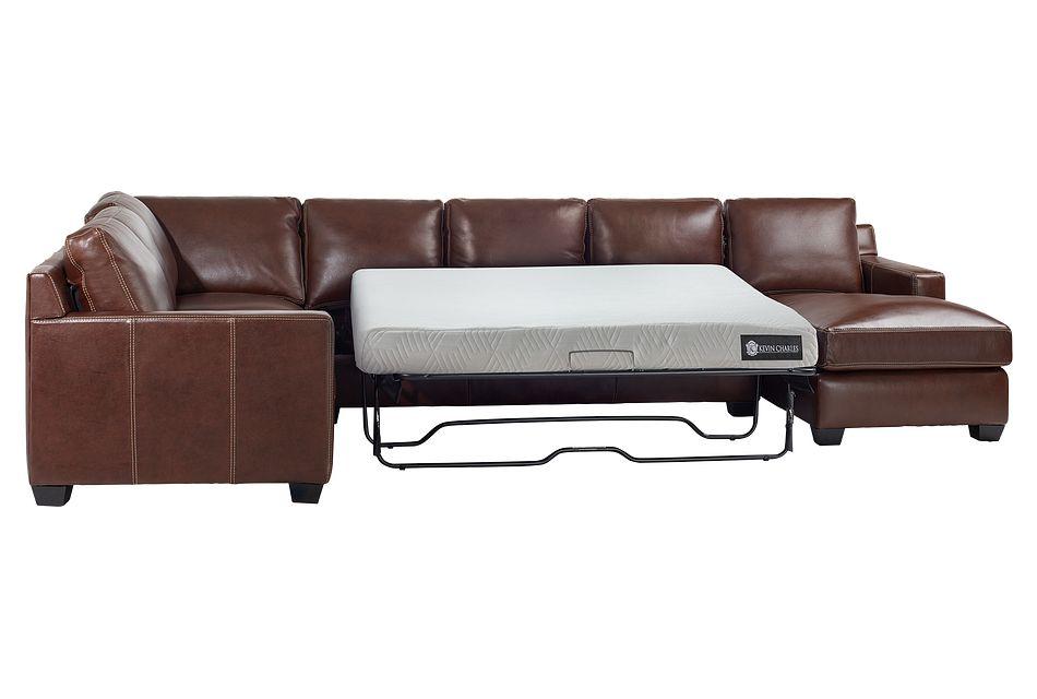 Carson Medium Brown Leather Medium Right Chaise Memory Foam Sleeper Sectional