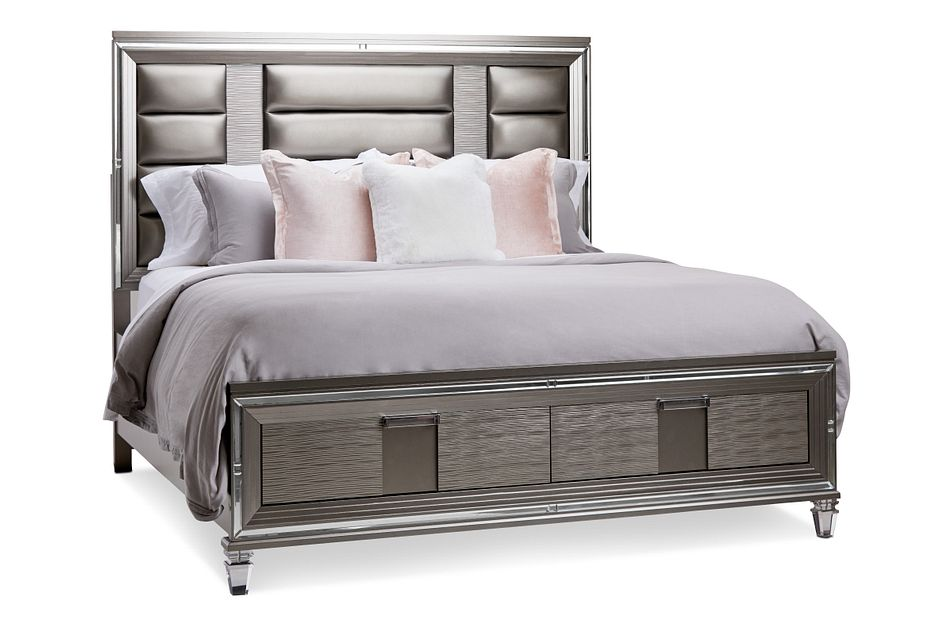 Vegas Gray Platform Storage Bed