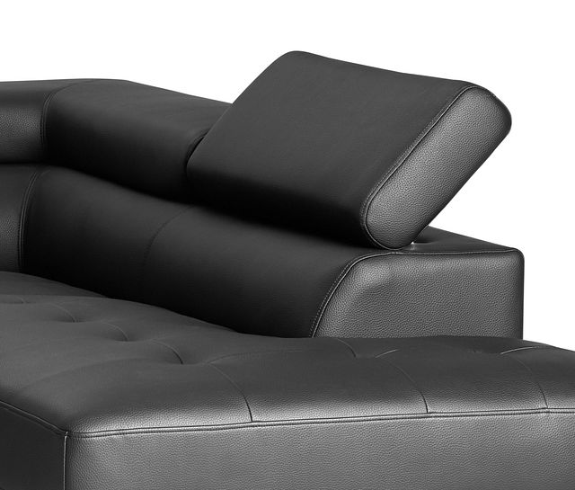 Zane Black Micro Right Chaise Sectional