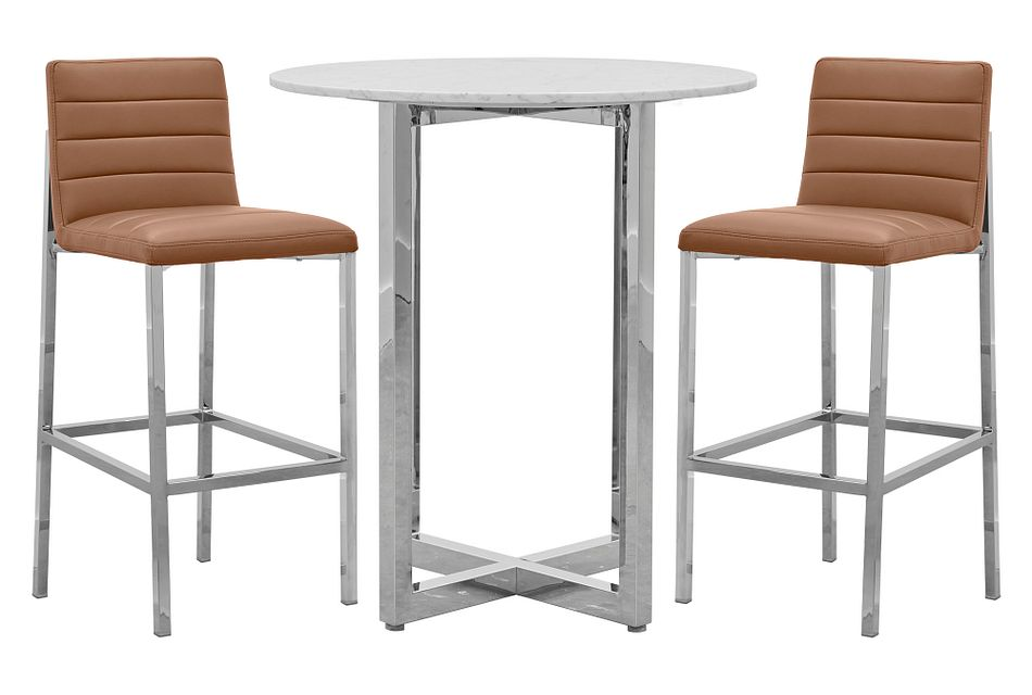 Amalfi Brown Marble Pub Table & 2 Upholstered Barstools