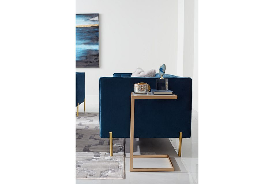 Bella Dark Blue  Velvet Sofa