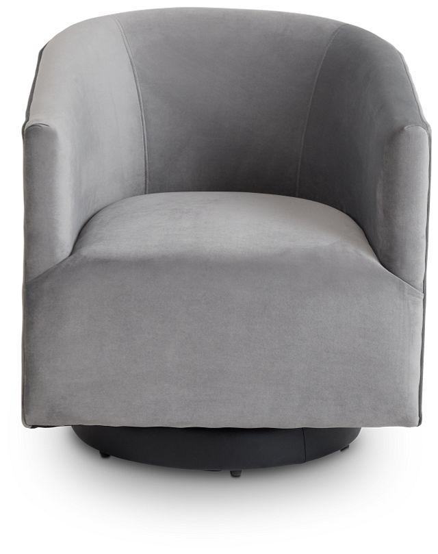 Charlotte Dark Gray Velvet Swivel Accent Chair (3)