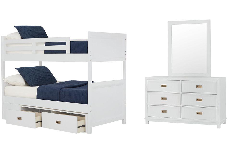 Ryder White Bunk Bed Storage Bedroom