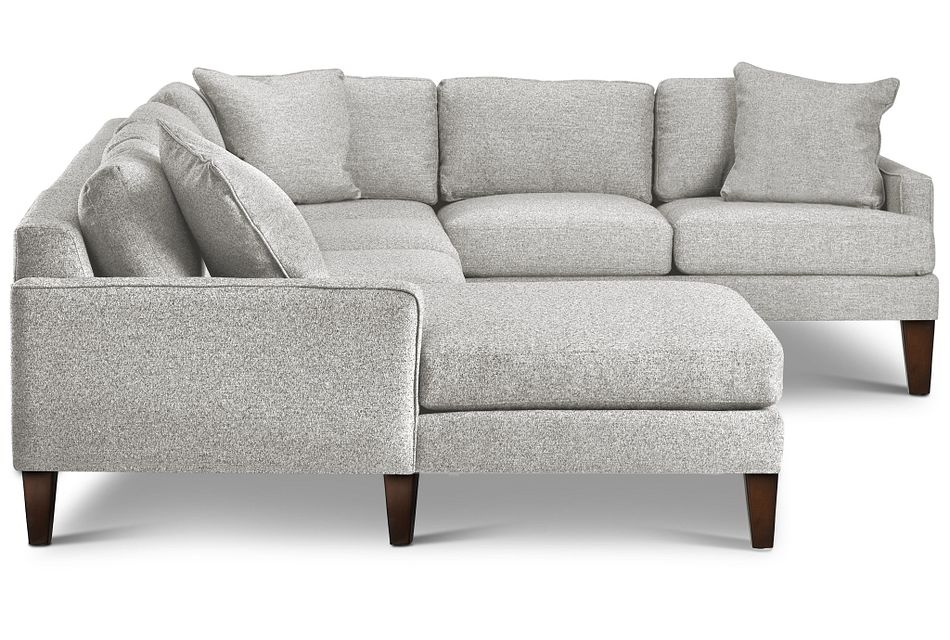 Morgan Light Gray Fabric Medium Left Chaise Sectional W/ Wood Legs