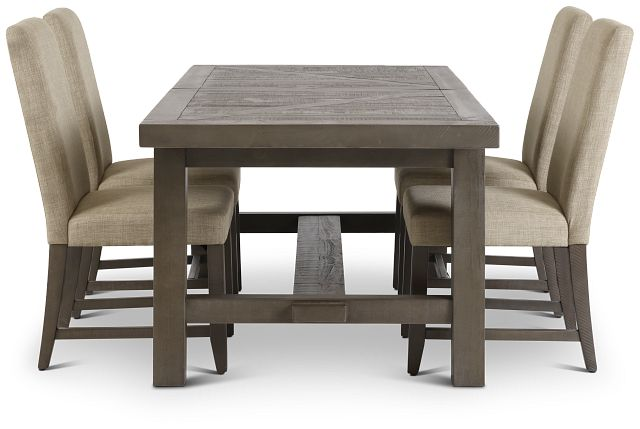 Taryn Gray Rect Table & 4 Upholstered Chairs (2)