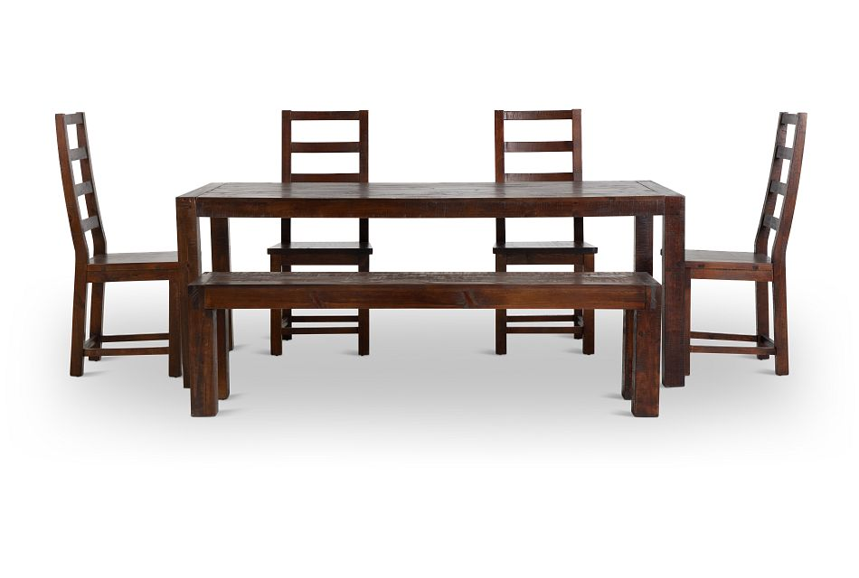 Seattle Dark Tone Rect Table, 4 Chairs & Bench,  (3)