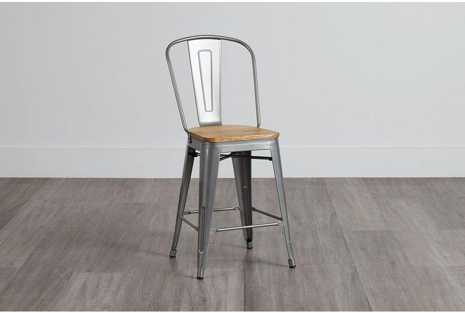 "Huntley Light Tone 24"" Wood Barstool"