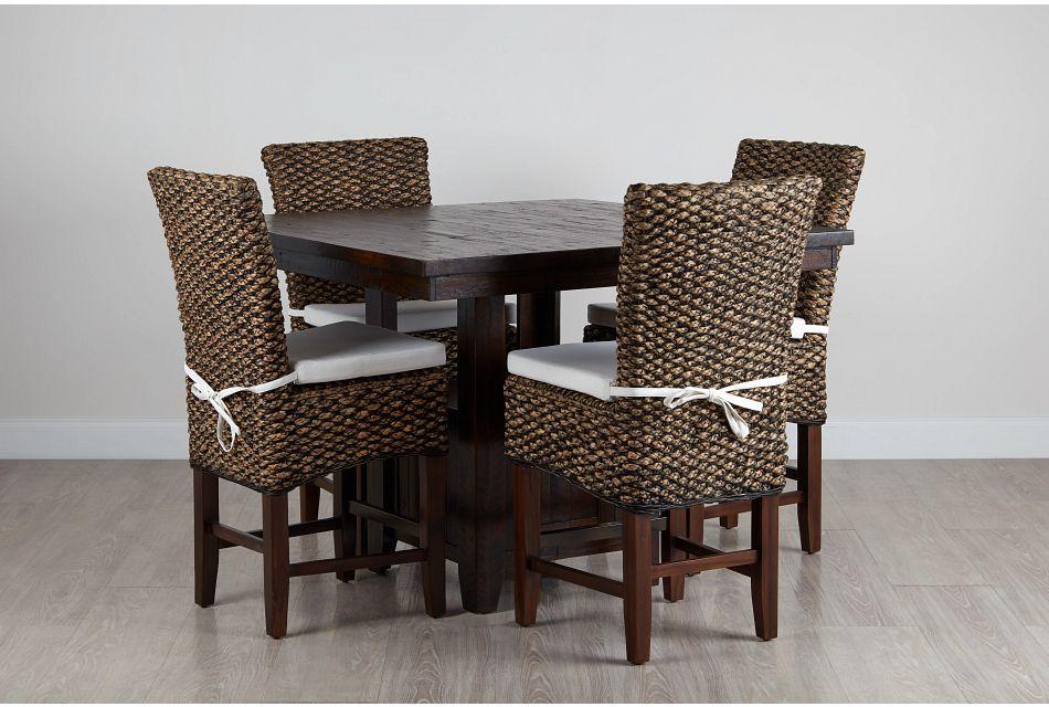 Kona Grove Dark Tone High Table & 4 Woven Barstools