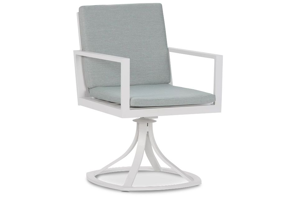 Linear White Teal Swivel Chair