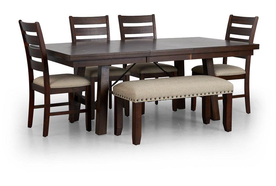 Jax Dark Tone Rect Table, 4 Chairs & Bench,  (3)